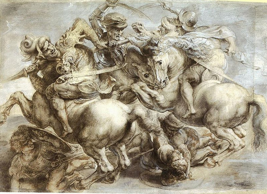 Копи картона фрески Леонардо да Винчи «Битва при Ангияри». Работа Рубенса