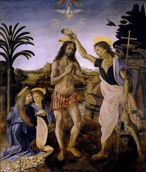 """""""Крещение Христа"""" Андреа дель Верроккьо"""